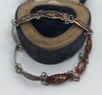 """Vintage Sterling Silver Bracelet 925 6.5"""" Enamel Siam Red Dancer"""