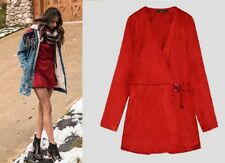 ZARA NEW RED FAUX SUEDE MINI SEXY JUMPSUIT DRESS V NECK SIZE M