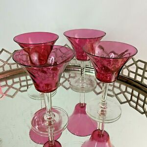 Cranberry Crystal Optic 4 1/2 Tall Cordials Liquor Vintage Set of 4 #N1