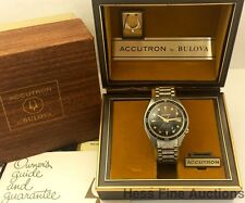 Awesome Vintage Bulova Accutron 1968 Deep Sea 666ft 218M Steel Orig Box Papers