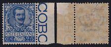 """Regno 1901 """"Floreale"""" 25 cent. azzurro bdf  n. 73 nuovo g. i. MNH** cert. Cilio"""