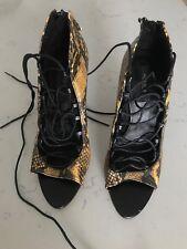 b7154478ce6 Zara Basic Snake Skin Lace Up Gladiator Heels Size EUR 38