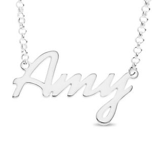 Personalised Your Name Necklace Amy Nameplate Pendant Sterling Silver