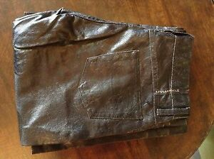 Full Circle black leather look womens trousers 28' 32L