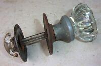 Antique Vintage 12 Point Glass Door Knob Closet Spindle Escutcheons Round Plates