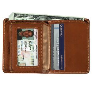 Mens Leather Passcase Flap Wallet with ID Window Italian Leather by Tony Perotti
