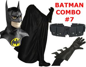 BATMAN RETURNS MICHAEL KEATON costume cowl, cape, gloves REAL black utility belt