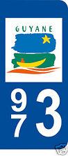 1 Sticker plaque immatriculation AUTO adhésif département 973