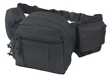3 Pouch TACTICAL WAIST UTILITY PACK Black - Army Airsoft Canvas Day Bum Bag