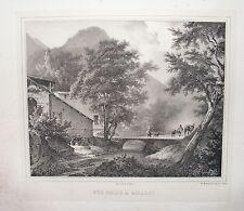 1825 AMALFI Coignet rara litografia Napoli Campania