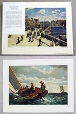 Vintage Winslow Homer Breezing Up And Pierre-August Renoir Pont Neuf Print Set