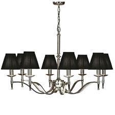 Avery Ceiling Pendant Chandelier Light– 8 Lamp Bright Nickel & Black Pleat Shade