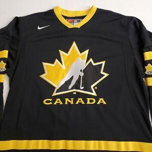 NIKE 2013 TEAM CANADA Official LIVESTRONG Jersey Mens Medium Black & Gold IIHF