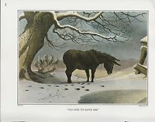 """1972 Vintage Currier & Ives DONKEY """"NO ONE TO LOVE ME"""" COLOR Print Lithograph"""