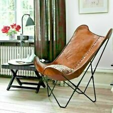 Handmade Brown Cowhide Leather Butterfly Chair Lounge Relax Arm Chair Home Decor