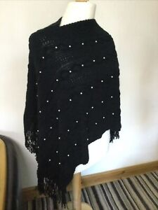 New ,Poncho with Pearl Beads & Tassels