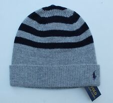 9cd53ab5ec5 Ralph Lauren Polo Wool Blend Knit Winter Beanie Hat Cuffed Gray Navy Fe18