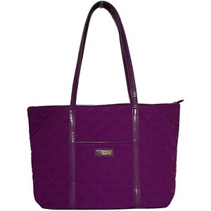 Vera Bradley Large Commuter Tote Solid Purple Travel Bag Laptop Tablet Quilted
