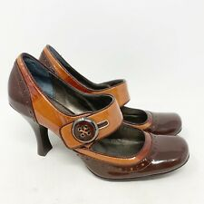 Linea Paolo Patent Leather Button Strap Mary Jane Heels Womens Size 6