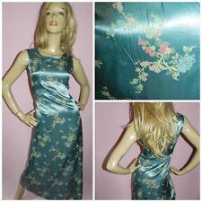 Vintage 90s Green Oriental Floral Print Slip Dress 12 M 1990s