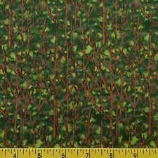 NATURE'S WALK cotton fabric sewing quilting TREES FOLIAGE green brown BLENDER