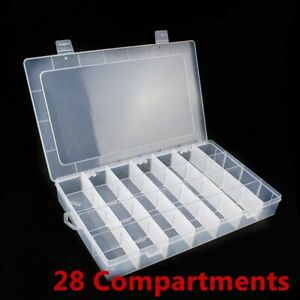 1/2pcs 28 Grids Clear Jewelry Bead Organizer Box Storage Container Case Craft UK