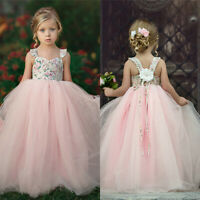 Kid Girls Sleeveless Dress Party Princess Fairy Floral Sundress Patchwork Outfit