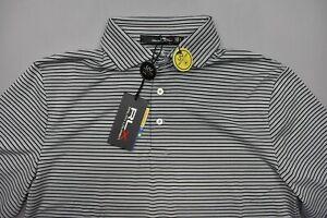 RLX Men's Ralph Lauren Polo Golf Shirt UPF Wicking Grey Spyglass Black Stripe S