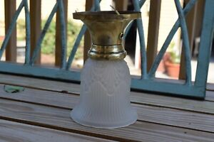 Brass Fixture With Textured Shade- Rewired
