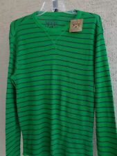 NWT RED CAMEL  L/S COTTON BLEND THERMAL STYLE TEE SHIRT L GREEN STRIPED MSRP $30