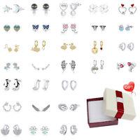 BAMOER Mehrere 100% Sterling Silber CZ Ohrringe Stud Hoop Dangle Damenschmuck