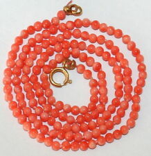 9K Gold Clasp Fine Knotted Necklace Vintage Natural Pink Coral 2.7mm Small Bead