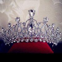New Bridal Wedding Crystal Flower Tiara Crown Pearl Rhinestone Hair Headband