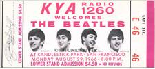 1  BEATLES VINTAGE UNUSED FULL CONCERT TICKET 1966 Candlestick Park laminated rd