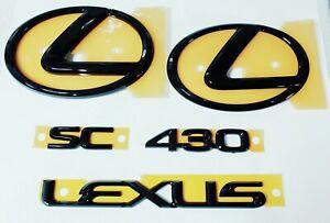 Fits Lexus SC430 Emblem Pearl Black Front Rear Trunk Kit 2002 2003 2004 2005