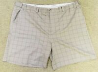 Mens 54 Oak Hill Shorts Tan Check Waist Relaxer Stretch Waistband Flat Front