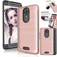 For T-Mobile REVVL Plus Hybrid Shockproof Slim Case Cover+Glass Screen Protector