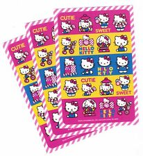SANRIO Hello Kitty Stickers!  3 Sheets  Bows Gumballs CUTIE SWEET Tricycle