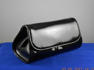 BareMinerals Black Faux Patent Leather Flap Front Cosmetic Makeup Bag