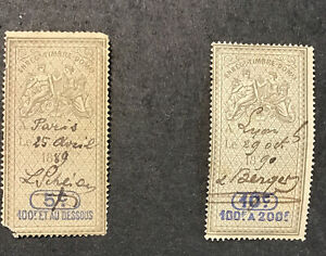 French Revenues 1889-90 F-VF Used Lot 2 Pieces
