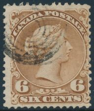 CANADA #27 SIX CENTS F-VF USED STAMP CV $125 BT7318