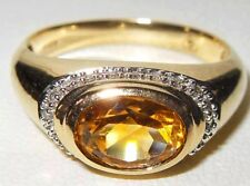 Gems TV 9ct Yellow Gold 0.915ct Citrine Solitaire & Diamond Halo Unusual Ring