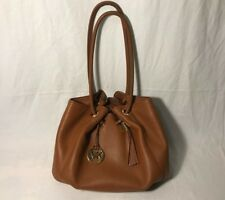 """Michael Kors """"EW Ring Tote"""" Brown Leather Tassel Accent Bucket Tote Bag, EUC"""