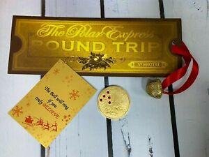 Believe Polar Express Ticket Gold Jingle Bell & Card