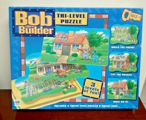 Bob The Builder Tri-Level Jigsaw Puzzle 2001 ~ Three 12 Piece Puzzles ~ Hasbro