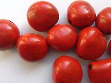 10 Rouge Kukui Nut Perles, 15 - 20 mm Perles/Embellissement/Artisanat