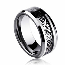US SELLER Black Celtic Dragon Stainless Steel Men's Wedding Band Rings Size 8