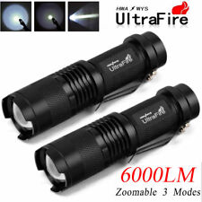 2x 6000 Lumens UltraFire Tactical T6 LED Adjustable Focus Zoom Flashlight Torch