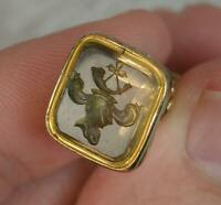 Georgian Gold Cased and Foiled Citrine Intaglio Seal Fob Watch Pendant t0762