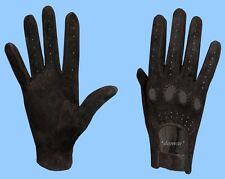 NEW WOMENS size 7 BLACK GENUINE SUEDE LEATHER DRIVING GLOVES adjustable wrist